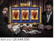Купить «Casino slot machine in front of people playing cards gambling 3d», фото № 26644056, снято 19 июля 2018 г. (c) Wavebreak Media / Фотобанк Лори