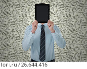 Купить «Business man holding tablet over face against money backdrop», фото № 26644416, снято 21 июля 2018 г. (c) Wavebreak Media / Фотобанк Лори