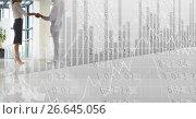 Купить «Business handshake on shiny floor with grey finance graph transition», фото № 26645056, снято 7 июня 2020 г. (c) Wavebreak Media / Фотобанк Лори