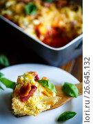 Купить «Cauliflower baked with beets, carrots, zucchini in egg», фото № 26645132, снято 9 июля 2017 г. (c) Peredniankina / Фотобанк Лори