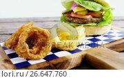 Купить «Hamburger, onion ring and french fries on chopping board», видеоролик № 26647760, снято 14 декабря 2019 г. (c) Wavebreak Media / Фотобанк Лори