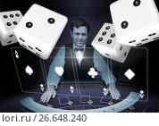 Купить «3d Pairs of dice in front of croupier», фото № 26648240, снято 19 июля 2018 г. (c) Wavebreak Media / Фотобанк Лори