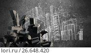 Купить «Broken concrete stone with Yen symbol in cityscape», иллюстрация № 26648420 (c) Wavebreak Media / Фотобанк Лори