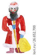 Купить «Детский рисунок деда мороза акварельными красками», иллюстрация № 26652700 (c) Дмитрий Тищенко / Фотобанк Лори