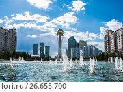 Купить «Казахстан. Астана. Красивый городской пейзаж», фото № 26655700, снято 10 июня 2017 г. (c) Сергеев Валерий / Фотобанк Лори