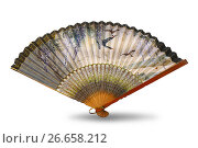 Ancient Chinese silk fan - isolated object on white. Стоковое фото, фотограф Анастасия Кононенко / Фотобанк Лори