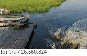 Мальчик и девочка разбегаются и прыгают в озеро с деревянного пирса, замедленная съемка. Стоковое видео, видеограф Кекяляйнен Андрей / Фотобанк Лори