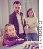 Купить «Young parents lecturing girl for bad behavior», фото № 26662128, снято 19 марта 2019 г. (c) Яков Филимонов / Фотобанк Лори