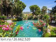 Купить «Thermal pool Cleopatra in Pamukkale in Turkey», фото № 26662520, снято 21 мая 2017 г. (c) Олег Жуков / Фотобанк Лори