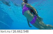 Купить «Young beautiful woman swims under water in the pool», видеоролик № 26662548, снято 15 июля 2017 г. (c) Некрасов Андрей / Фотобанк Лори