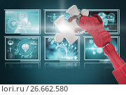 Купить «Composite 3d image of cropped of red robotic hand holding puzzle piece», иллюстрация № 26662580 (c) Wavebreak Media / Фотобанк Лори