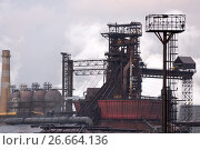 Купить «Blast furnace, iron production, metallurgical production.», фото № 26664136, снято 16 июня 2017 г. (c) Андрей Радченко / Фотобанк Лори
