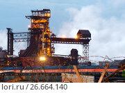 Купить «Blast furnace, iron production, metallurgical production.», фото № 26664140, снято 16 июня 2017 г. (c) Андрей Радченко / Фотобанк Лори