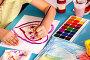 Small students children painting in art school class., фото № 26666284, снято 25 марта 2017 г. (c) Gennadiy Poznyakov / Фотобанк Лори