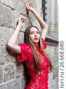 Купить «close-up portrait of sexy young woman in red dress», фото № 26668680, снято 24 июня 2017 г. (c) Яков Филимонов / Фотобанк Лори