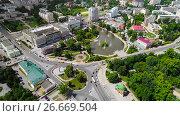 Купить «Lipetsk, Russia - July 11. 2017. View from the top of Revolution Square and Komsomolsky Pond», фото № 26669504, снято 11 июля 2017 г. (c) Володина Ольга / Фотобанк Лори