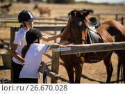 Купить «Girls touching the brown horse in the ranch», фото № 26670028, снято 28 марта 2017 г. (c) Wavebreak Media / Фотобанк Лори