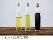 Купить «Olive oil and balsamic vinegar in bottle», фото № 26673996, снято 15 февраля 2017 г. (c) Wavebreak Media / Фотобанк Лори
