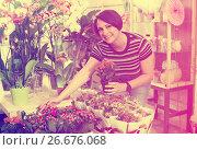 Купить «Female florist with kalanchoe», фото № 26676068, снято 16 августа 2018 г. (c) Яков Филимонов / Фотобанк Лори