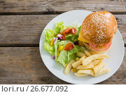 Купить «Overhead view of burger and french fries with vegetables», фото № 26677092, снято 13 января 2017 г. (c) Wavebreak Media / Фотобанк Лори