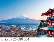 Купить «Japan, Fujiyoshida City, Churieto Pagoda, Mount Fuji», фото № 26680364, снято 16 июля 2018 г. (c) age Fotostock / Фотобанк Лори