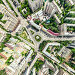 Aerial city view with crossroads and roads, houses, buildings, parks and parking lots. Sunny summer panoramic image, фото № 26689432, снято 23 июля 2017 г. (c) Александр Маркин / Фотобанк Лори