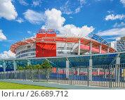 Купить «Здание дворца спорта «Мегаспорт». Ходынский бульвар, 3. Москва», эксклюзивное фото № 26689712, снято 20 июля 2017 г. (c) Виктор Тараканов / Фотобанк Лори