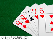 Купить «poker hand of playing cards on green casino cloth», фото № 26693124, снято 15 марта 2017 г. (c) Syda Productions / Фотобанк Лори