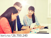 Купить «happy creative team or students working at office», фото № 26700240, снято 27 февраля 2016 г. (c) Syda Productions / Фотобанк Лори