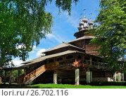 Купить «Christianity wood church in Russia», фото № 26702116, снято 30 июля 2015 г. (c) ElenArt / Фотобанк Лори