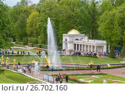 Peterhof, Russia - June 03.2017. Park with fountain in front of the palace. Редакционное фото, фотограф Володина Ольга / Фотобанк Лори