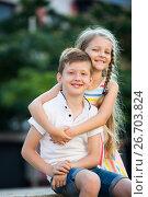 Купить «two kids hugs», фото № 26703824, снято 20 сентября 2018 г. (c) Яков Филимонов / Фотобанк Лори