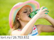 Купить «smiling girl drinking water», фото № 26703832, снято 20 февраля 2018 г. (c) Яков Филимонов / Фотобанк Лори