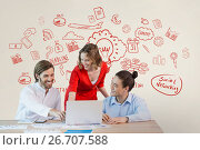 Купить «Happy business people at a desk looking at a computer against white background with red graphics», фото № 26707588, снято 27 мая 2020 г. (c) Wavebreak Media / Фотобанк Лори