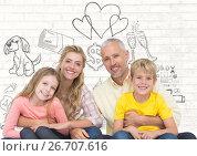 Купить «Family in front of family life drawings», фото № 26707616, снято 23 августа 2019 г. (c) Wavebreak Media / Фотобанк Лори