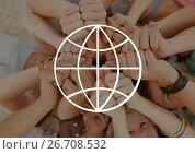 Купить «World icon against fists photo», фото № 26708532, снято 17 июня 2019 г. (c) Wavebreak Media / Фотобанк Лори