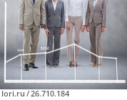 Купить «Group of business people standing in front of blank grey background with statistic chart», фото № 26710184, снято 24 апреля 2019 г. (c) Wavebreak Media / Фотобанк Лори