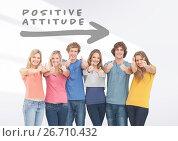 Group of friends standing in front of Positive attitude arrow. Стоковое фото, агентство Wavebreak Media / Фотобанк Лори