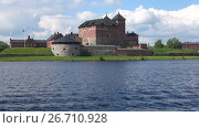 Купить «Панорама озера Ванаявеси с видом на крепость Хамеенлинна облачным днем. Финляндия», видеоролик № 26710928, снято 10 июня 2017 г. (c) Виктор Карасев / Фотобанк Лори
