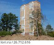 Купить «Двадцатичетырёхэтажный двухподъездный монолитно-кирпичный жилой дом, построен по индивидуальному проекту в 2010 году. Щелковское шоссе, 69, корпус 1. Район Гольяново. Город Москва», эксклюзивное фото № 26712616, снято 26 июля 2017 г. (c) lana1501 / Фотобанк Лори