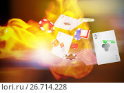 Купить «Composite image of 3d image of casino tokens with playing cards and dice», иллюстрация № 26714228 (c) Wavebreak Media / Фотобанк Лори