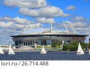 """Купить «Новый стадион """"Санкт-Петербург Арена"""" (бывший """"Зенит-Арена"""") на Крестовском острове. Санкт-Петербург, Россия», фото № 26714488, снято 2 июля 2017 г. (c) Bala-Kate / Фотобанк Лори"""