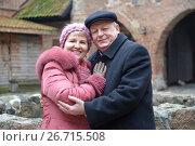 Купить «Мужчина и женщина стоят обнявшись на территории замка Тевтонского ордена. Семейный портрет», фото № 26715508, снято 3 января 2014 г. (c) Ирина Борсученко / Фотобанк Лори