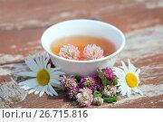 Купить «Травяной напиток с цветами клевера и ромашки», фото № 26715816, снято 12 июля 2017 г. (c) Татьяна Белова / Фотобанк Лори