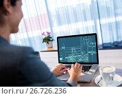 Купить «office lines (two-tone: dark and light blue) on a laptop.», фото № 26726236, снято 25 марта 2019 г. (c) Wavebreak Media / Фотобанк Лори