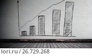 Купить «Bar chart incremental drawn on wall in room», иллюстрация № 26729268 (c) Wavebreak Media / Фотобанк Лори