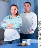Купить «Husband and pregnant wife arguing at home», фото № 26730096, снято 18 марта 2017 г. (c) Яков Филимонов / Фотобанк Лори