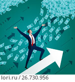 Купить «Бизнесмен взлетает вверх на стрелке навстречу деньгам и успеху», иллюстрация № 26730956 (c) Анастасия Некрасова / Фотобанк Лори