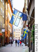 Купить «Old street in Stockholm», фото № 26732352, снято 25 июля 2017 г. (c) Роман Сигаев / Фотобанк Лори