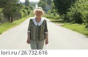 Купить «Elderly woman walking on the road in the village», видеоролик № 26732616, снято 25 июля 2017 г. (c) worker / Фотобанк Лори